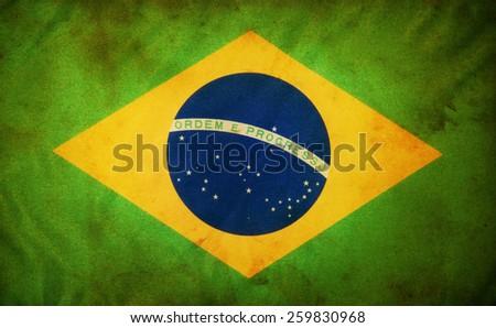 Grunge of Brazil Flag - stock photo
