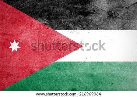 Grunge of Jordan Flag - stock photo