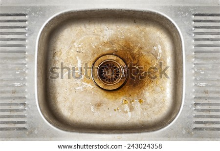 grunge old dirty metal rusty sink background - stock photo