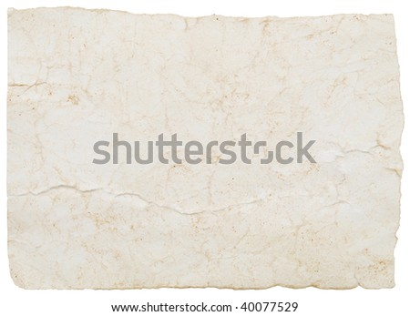 grunge old paper isolated on a white