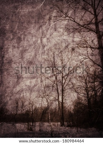 Grunge old textured background with winter landscape. - stock photo