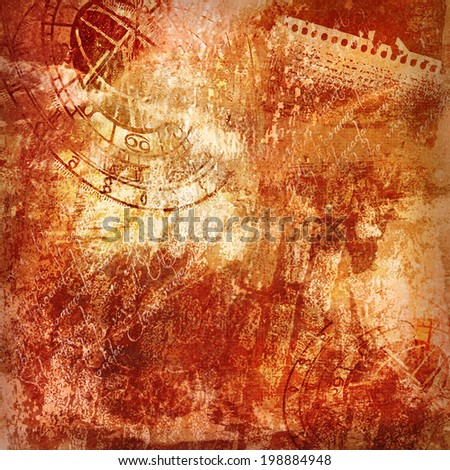 grunge old times distressed surface with motives of ancient astronomical clock, parchment and scripts, background - stock photo