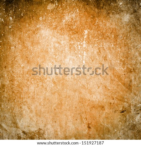 Grunge orange background with stains and scratches