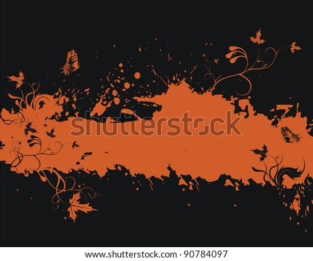 Grunge orange frame with floral elements, illustration - stock photo