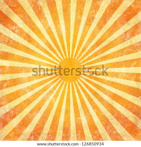 Grunge orange sun rays background with copy space - stock photo