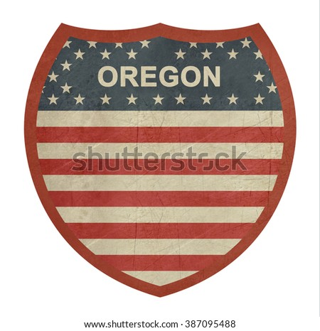 Grunge Oregon American interstate highway sign isolated on a white background. - stock photo