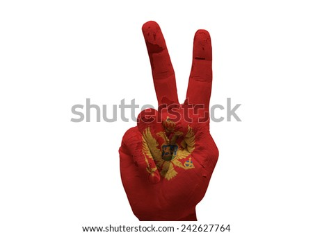 grunge painted hand making the V sign isolated over white background