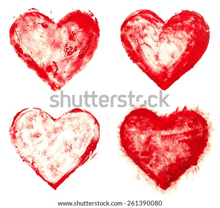 grunge painted red heart shapes set - stock photo