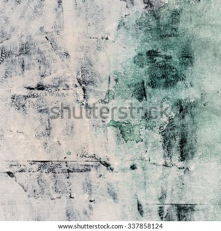 Grunge painted torn paper collage with different words, cracked scratched background - stock photo