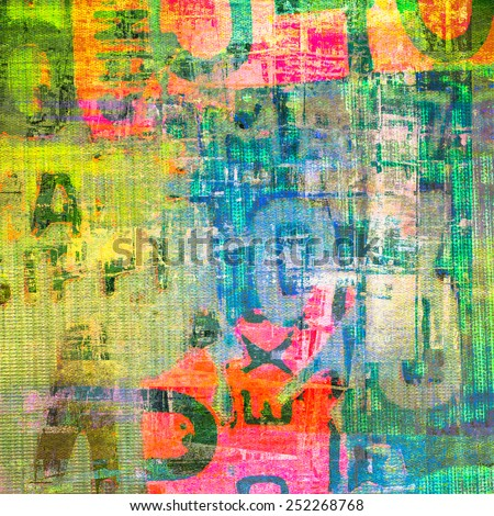 Grunge painting on canvas texture - stock photo