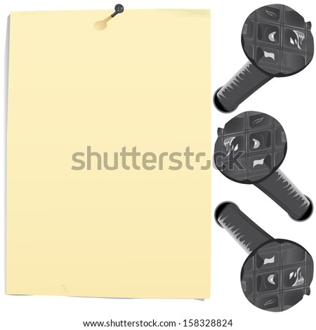 Grunge paper sheet and nails  - stock photo