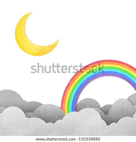 Grunge paper texture moon and rainbow