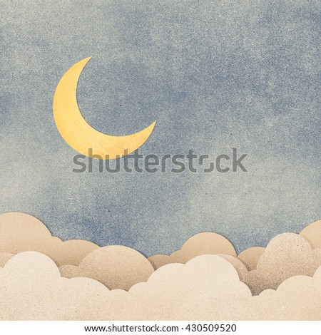 Grunge paper texture moon in the night - stock photo