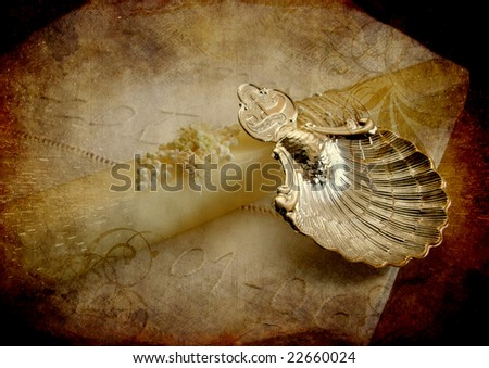 grunge paper with candle - stock photo