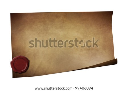 Grunge paper with wax seal isolated on white - stock photo