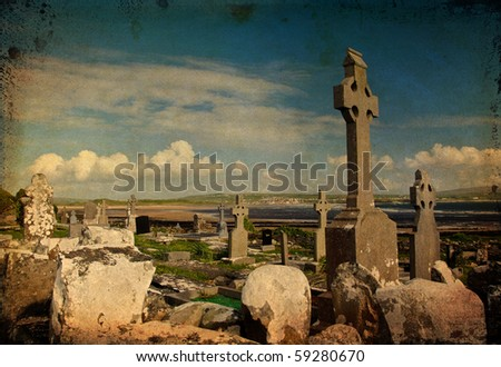 grunge photo of old burial garve site west of ireland - stock photo