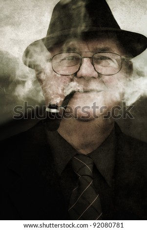 Grunge Photograph Of A Retro Crime Scene Investigator Displaying A Mystifying Expression While Smoking A Pipe In A Haze Of Smoldering Vagueness - stock photo