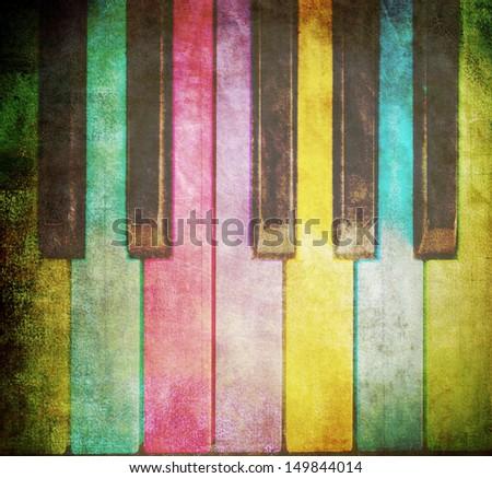 grunge piano background - stock photo