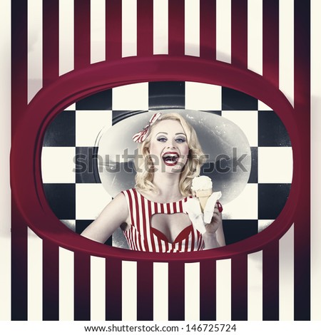 Grunge portrait of a laughing woman standing inside a vintage ice cream shop. Copy space design - stock photo