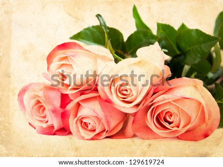 Grunge postcard background with roses