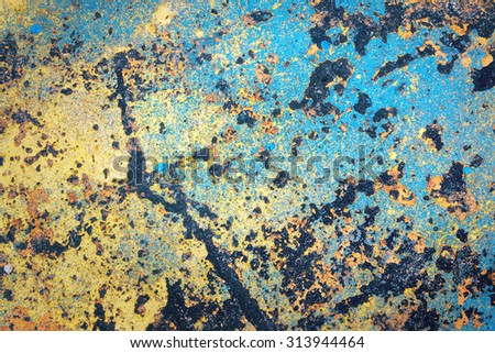 grunge puzzle color on dirt floor for background design - stock photo
