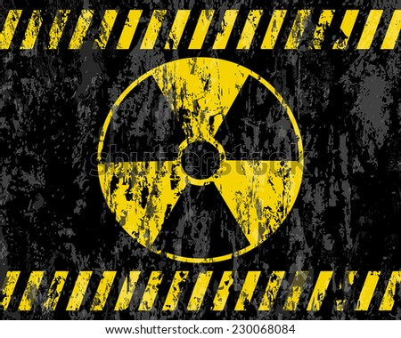 grunge radiation sign background illustration.