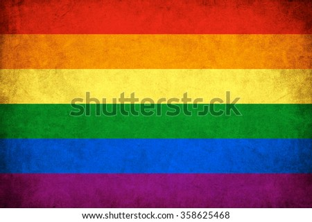 Grunge Rainbow flag background illustration of gay and lesbian - stock photo