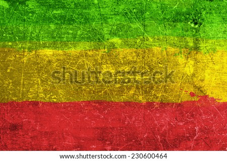 Grunge rasta flag as a background - stock photo