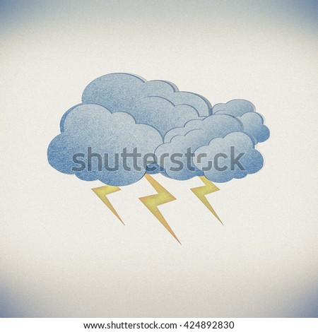 Grunge recycled paper cloud on white background - stock photo