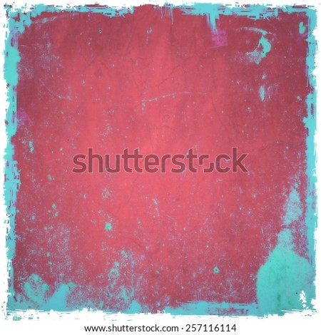 Grunge red background with blue borders - stock photo
