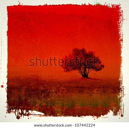 Grunge red background with tree - stock photo