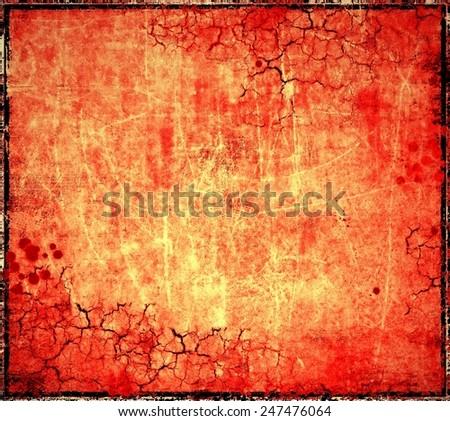 Grunge red cracked background - stock photo