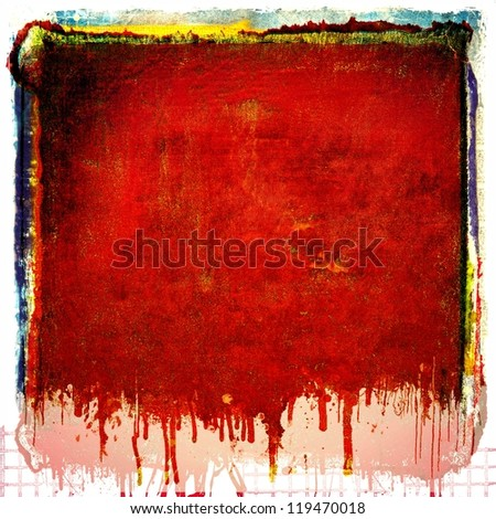 Grunge red dripping texture background - stock photo