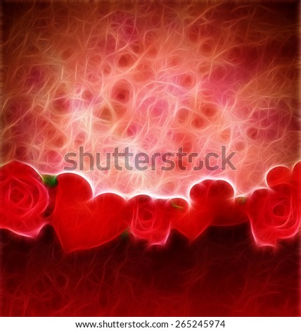 grunge red hearts and roses border red background lovely background - stock photo