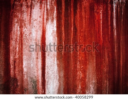 grunge red paint on wall - stock photo