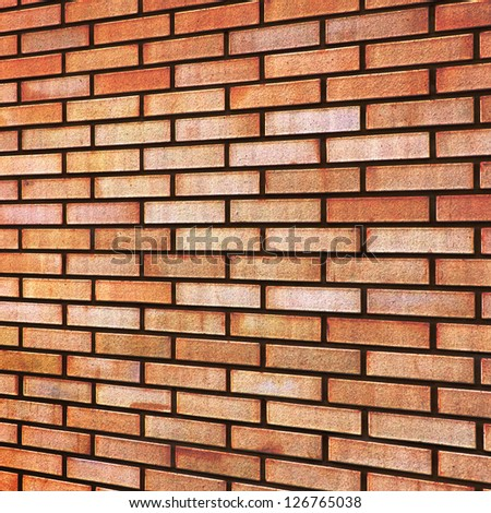 Grunge Red yellow beige tan fine brick wall texture background perspective - stock photo