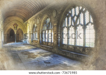 Grunge retro effect treatment on image of cathedral cloisters - stock photo