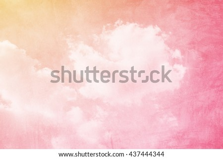 grunge retro fluffy cloud and sky background - stock photo