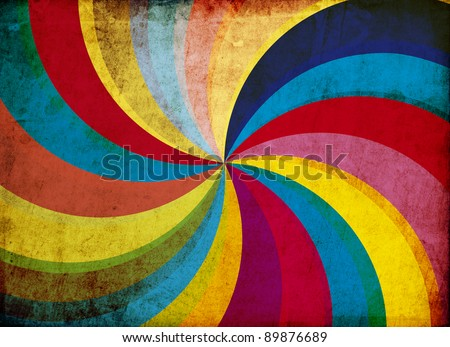 Grunge retro vintage paper background with colorful swirl - stock photo