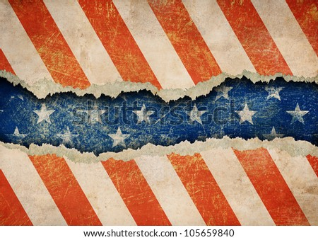 Grunge ripped paper USA flag pattern - stock photo