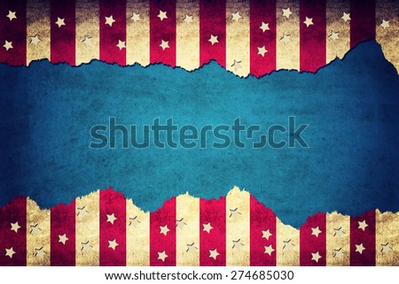 Grunge ripped paper USA flag pattern with blank space in the middle - stock photo
