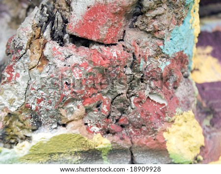 grunge rock texture with colourful worn paint