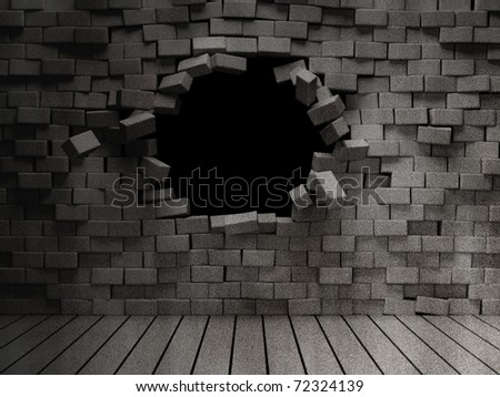 Grunge room with broken brick wall - stock photo
