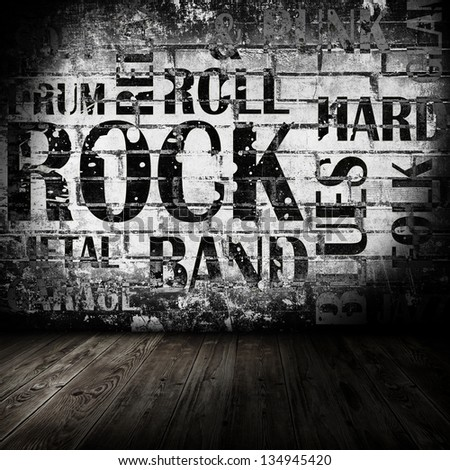 Grunge room with rock style text - stock photo