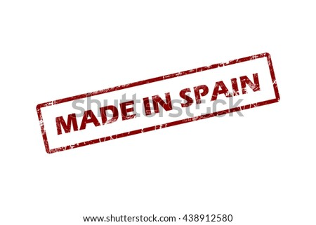 "Grunge rubber stamp or (stickers,tag, icon, sign, symbol, badge, label) with text "" MADE IN SPAIN "" present by red color for business, office - stock photo"