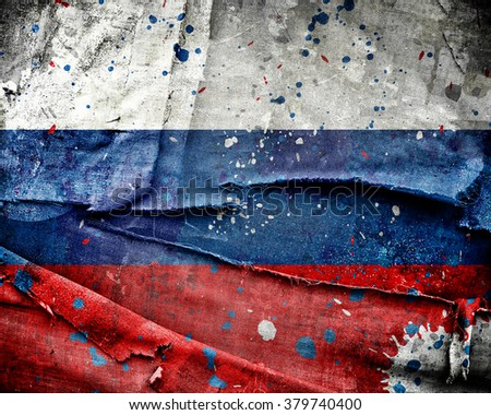Grunge Russia flag with scratches and stains - stock photo