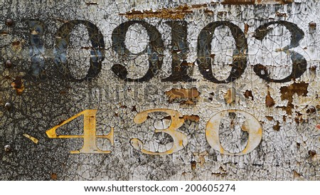 grunge rusty metal background with chipped paint numbers
