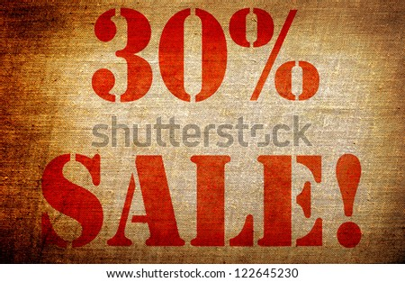 "Grunge ""30% sale "" - stock photo"
