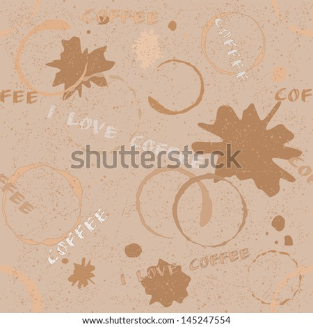 Grunge seamless pattern with coffee stains, blots and text - stock photo