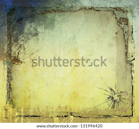 Grunge sepia background with borders - stock photo
